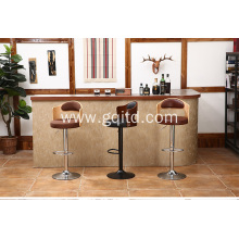 Modern adjustable PU leather seat bar chair